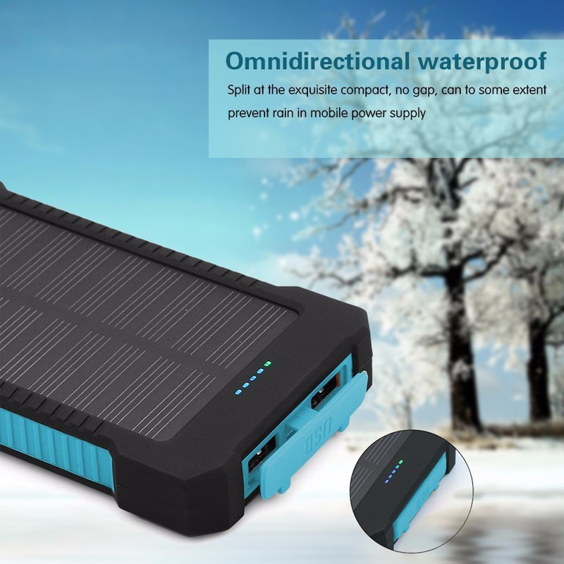 FDM 10000mAh External Portable Solar Power Bank Batteries Dual USB Port with LED Light Compass and Hanger Charger Battery
