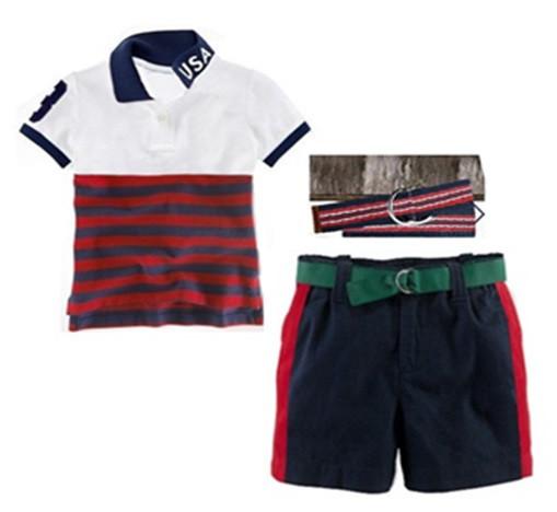 kids polo shirt pants belt sets Summer New baby boys brand POLO cotton t shirt + shorts + belt 3pcs set Children polo sport wear(China (Mainland))