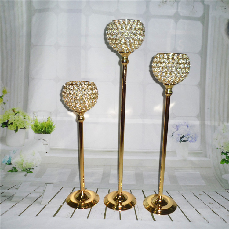 Gold Candle Centerpiece Wedding : Cm height gold crystal wedding decoration candle holders