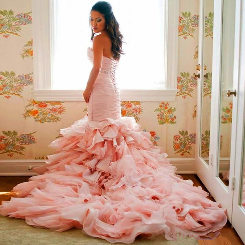 2016 blush pink organza mermaid wedding dresses ruffles for Pink ruffle wedding dress