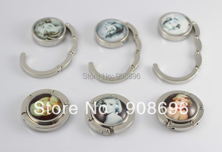 4Pcs Marilyn Monroe Circle Foldable Glossy Handbag Purse Hook Folding Hanger Holder - Free Ship(China (Mainland))