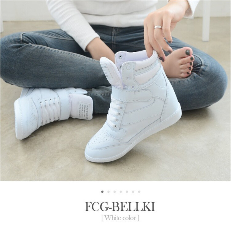 new arrive 2016 spring autumn women ankle boots heels shoes women casual wedges shoes height increased wedges high top(China (Mainland))