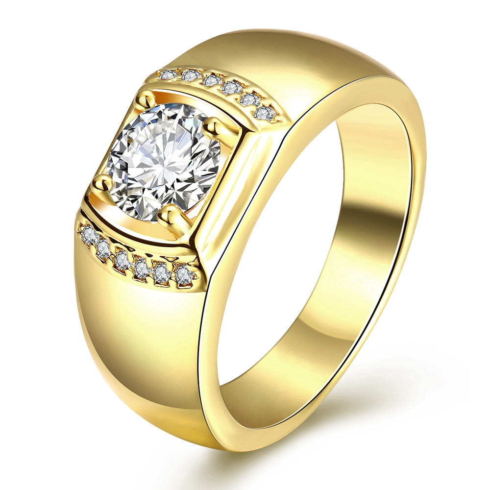 Top Quality 24K Yellow Gold Colour Men Imitation zircon Ring Hot Items Male 2016 New Fashion Jewellery Accessories(China (Mainland))