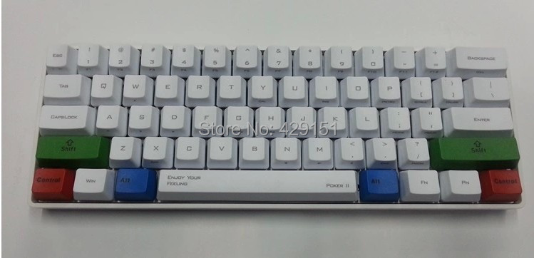 Kbc Poker 2 White Cap Second Generation mini 61 pbt Portable Cherry Tea Blue Black Red shaft Mechanical Keyboard Can add LED(China (Mainland))