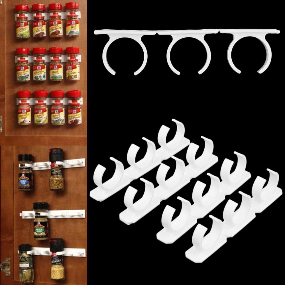 4 Sets Kitchen Clip Spice Gripper Jar Rack Storage Holder Wall Cabinet Door Popular New(China (Mainland))