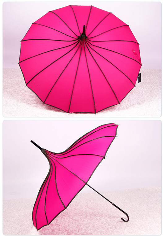 High-end fashion atmosphere pagoda umbrella 16 black steel frame structure Strong ability to resist wind Good sunscreen effect(China (Mainland))