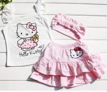 #8# High-quality Summer Hello Kitty Baby Girl Suits Kids Sets headband+Dress+Pants Children Clothing 3pcs Set  retail(China (Mainland))