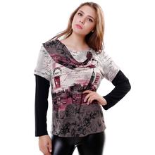 Новая 2015 весна - осень модний широкий Большой размер британский стиль печать женская футболка сращивания рукава женские топы 6238(China (Mainland))