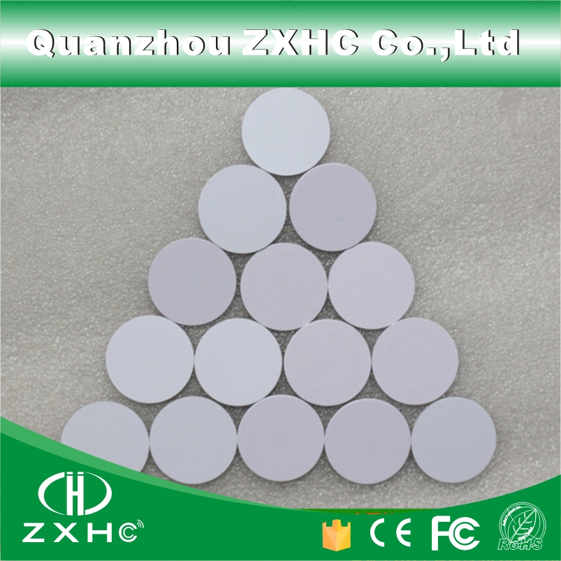 (10pcs/lot) Waterproof 25mm x 1mm 13.56MHz RFID Tag PVC Coin Card NFC Tag with FM1108(Compatible MF1 S50)(China (Mainland))