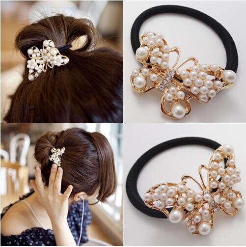 Alloy Chic Butterfly Bungee Alloy White Pearl Rubber Band Women Hair Jewelry Hair Rope Hair Accessories Free Shipping TS03(China (Mainland))
