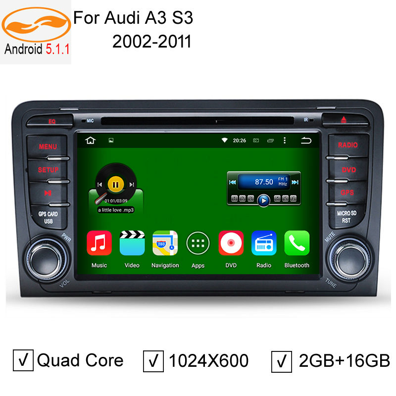 Android 5.1.1 2 Din 7 Inch Car DVD Player for Audi A3 S3 2003-2011 Canbus Radio GPS Bluetooth 1080P 3G / 4G WIFI USB Host Map(China (Mainland))