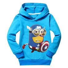 Despicable me 2 minions kids hoodies outwear baby girl clothes 2016 boys sweatshirts long sleeve hooded children clothing unisex(China (Mainland))