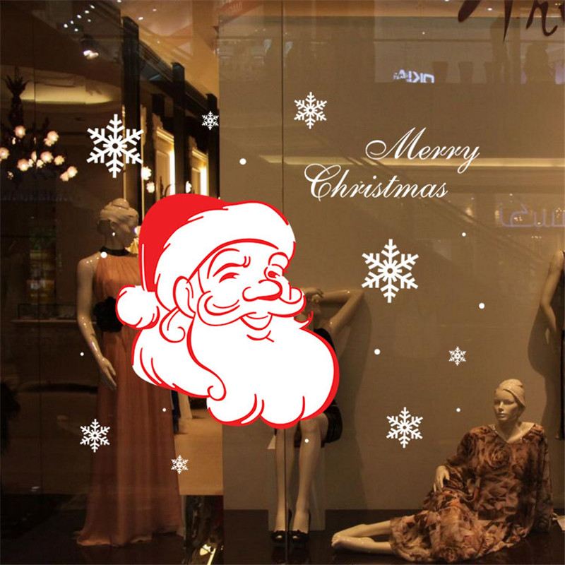 Christmas Santa Claus Wall Sticker Window Decor Home Glass Paper Crafts 2015 Hot Sale