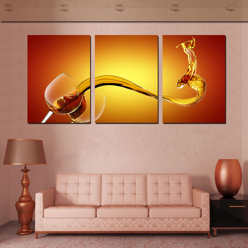 3 piece wall art picture wine splash wall art canvas oil for Family room wall art