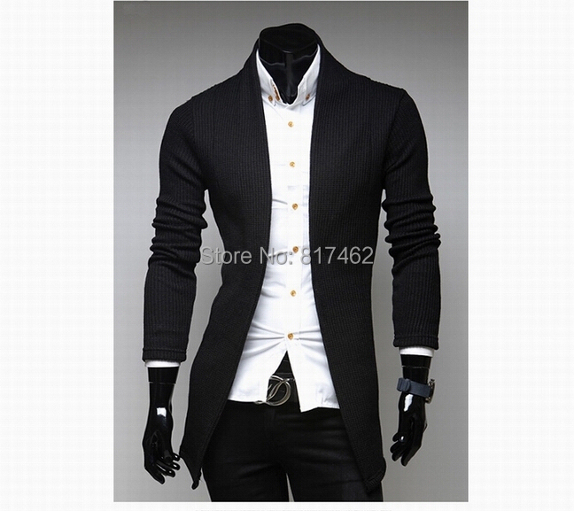 Stylish Turn-down Collar Long Sleeves Simple Plain Men Long Warm Cardigans Cotton Blending Male Jentleman Casual Knitted Sweater(China (Mainland))