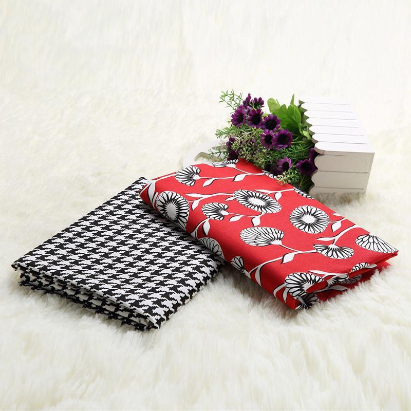 Europe style cotton cloth patchwork fabric White flower on red background and font b tartan b