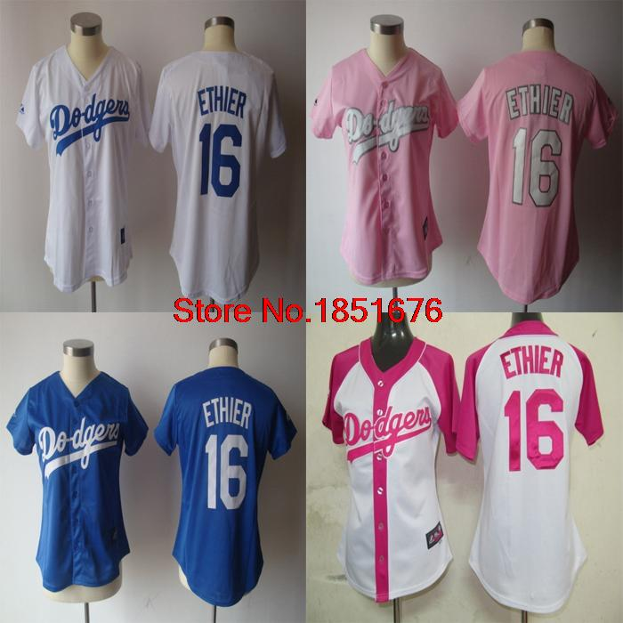#16 Andre Ethier Jersey Los Angeles Dodgers Jersey Women baseball Jersey Sport Jerseys Embroidery Logos Blue Pink White(China (Mainland))