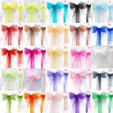 25pcs/set  New Organza Chair Sashes Bow Wedding And Events Supplies Party Decoration 25 Colors Free Shipping(China (Mainland))