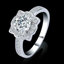 Handmade Sparkling 18k White Gold Plated Bridal zirconia Ring , Women's Fashion jewelry 3ct CZ Diamond Ring