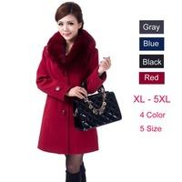 Plus Size 4XL 5XL High Quality 2015 Autumn Winter Coat Women Long Style Thick Wool Outwear Female Slim Faux Fur Collar Coats
