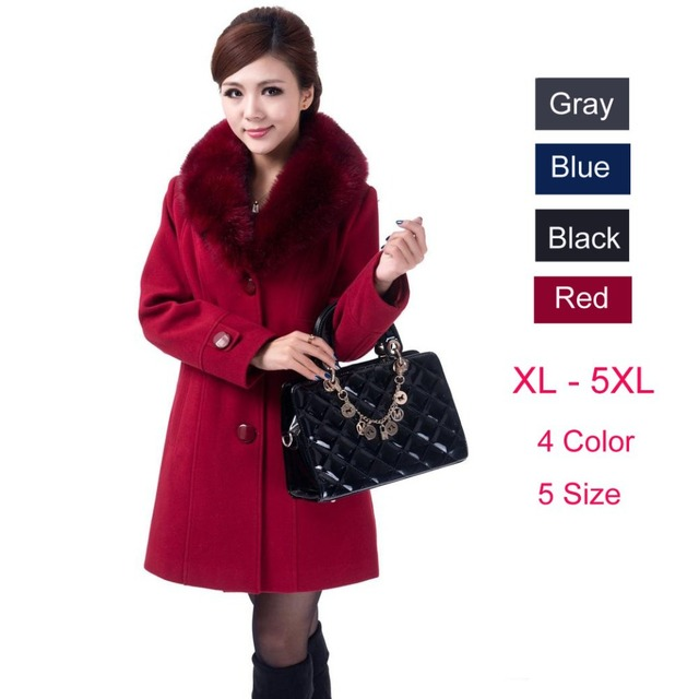 Plus Size 4XL 5XL High Quality 2017 Autumn Winter Coat Women Long Style Thick Wool Outwear Female Slim Faux Fur Collar Coats