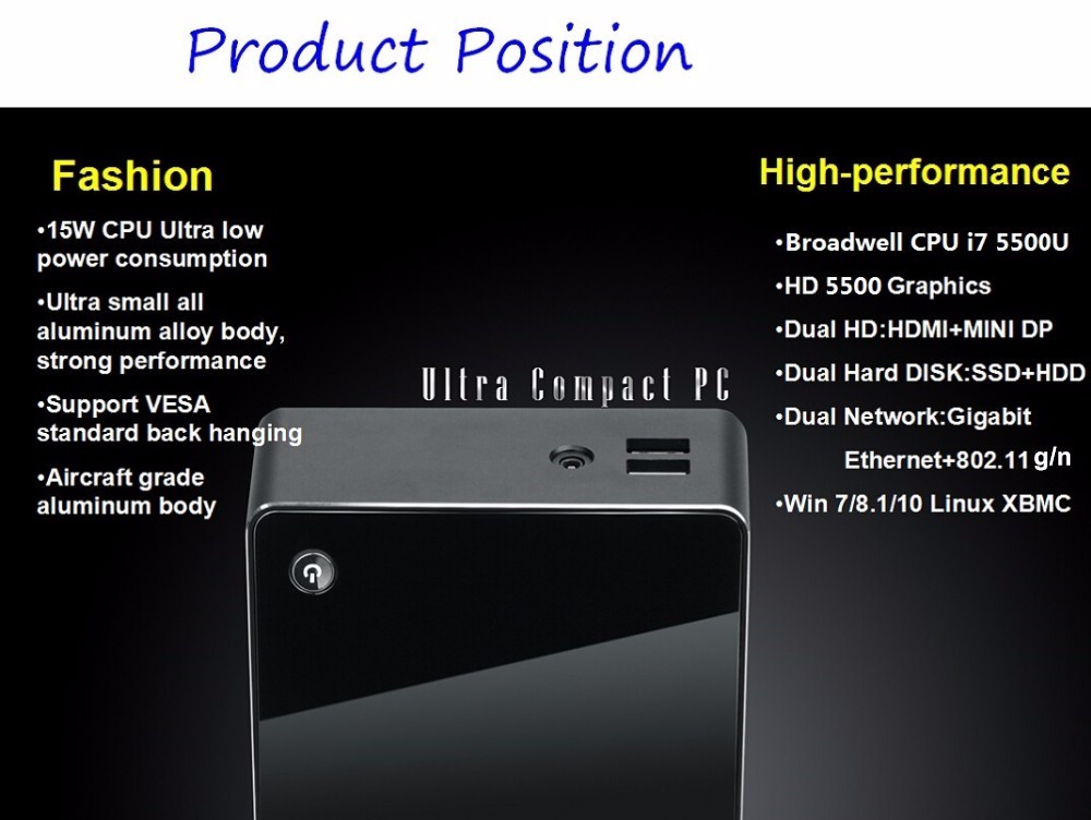 High Grade Tiny Size V100 Nuc 16G Ram 512G SSD Windows TV Player Mini PC Intel Core i7 5500U Max 3GHz Mini Computador WIFI+BT(China (Mainland))