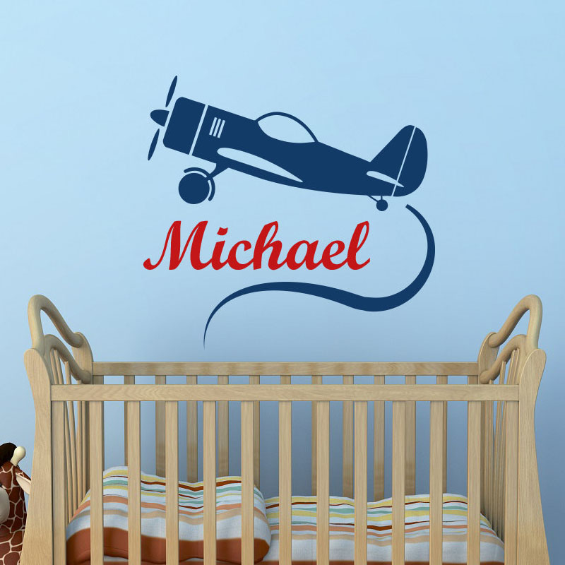 Cartoon Airplane Wall Stickers Children Bedroom Creative Stickers Home Decor Customized Boys Name Wall Decals