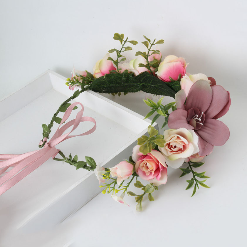 Handmade Rose Fashion Flower Wreath Crown Garland Halo for Wedding Travel Festivals Girl Rose Wreath Headpiece