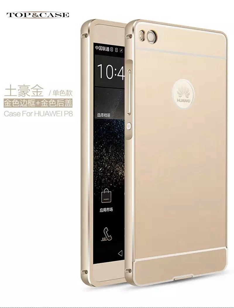 FOR Huawei p8 lite case,alumium metal frame and pc back cover luxury hard case for huawei ascend p 8 lite case SJ1965(China (Mainland))