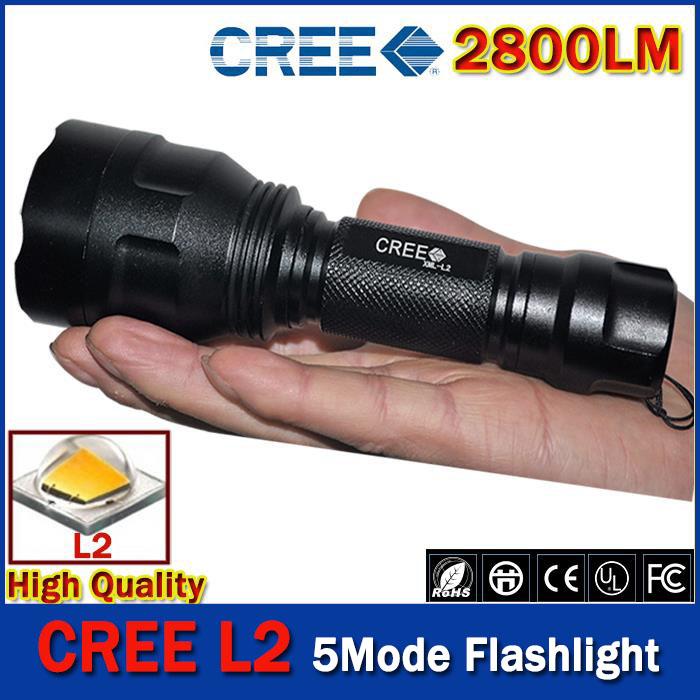 2015 HOT free shipping C8 CREE Led Flashlight 2800 Lumens lanterna Led CREE XM L2 Torch Light Camping Flash Light torch(China (Mainland))
