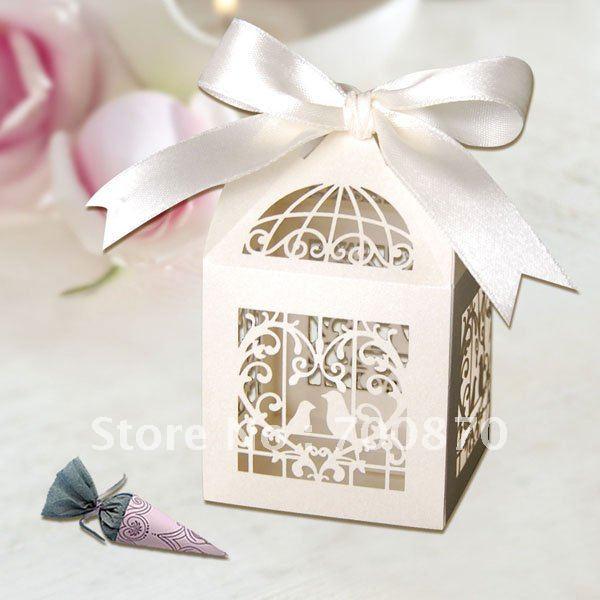 Hot sale fb1003 02 12pcs set 2quot2quot3quot laser cut birdcage for Favor boxes for wedding