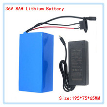 More Discount 36V 500W Lithium battery Pack 36V 8AH Electric Bicycle Battery with PVC case 42V 2A charger Free Shipping(China (Mainland))