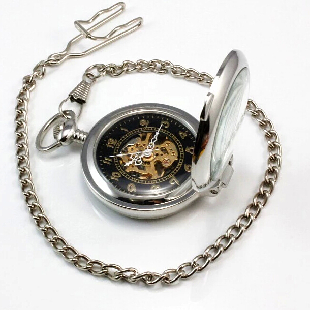 Vintage Antique Silver Hollow Automatic Mechanical Stainless Steel Pocket Watch Pendant with Chain Unisex Gift Free Shipping(China (Mainland))