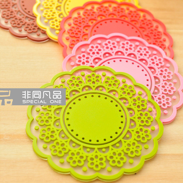 silicone gel lace coasters translucent flower shape coaster cup mat glass pad 50pcs/lot