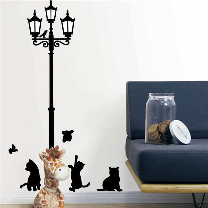 Cartoon Animal Under The Lights Cat Vinyl Wall Stickers