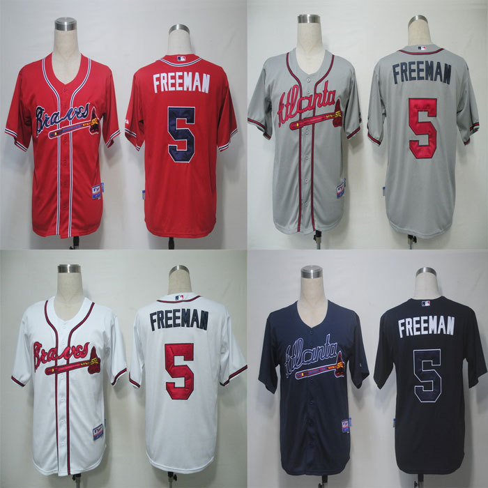#5 Freddie Freeman Jersey Atlanta Braves Jersey Baseball Jersey White Red Grey Cream Blue Free Shipping Top Quality(China (Mainland))
