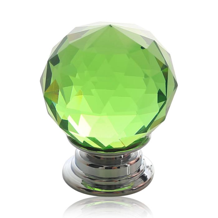 40mm NEW Green Crystal Glass Home Furniture Cabinet Knobs Kitchen Drawer PullsDoor Knob(China (Mainland))