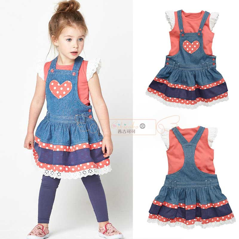 2015 New Summer Girls Clothing Sets ( Girls T shirt + Suspender Skirt ) Casual Suit Kids Clothes Vetement Fille Conjunto Menina(China (Mainland))
