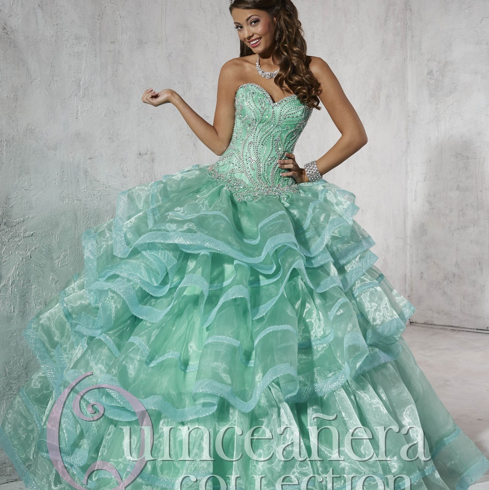 Princess Green Sweetheart Long Beaded Quinceanera Dresses ...