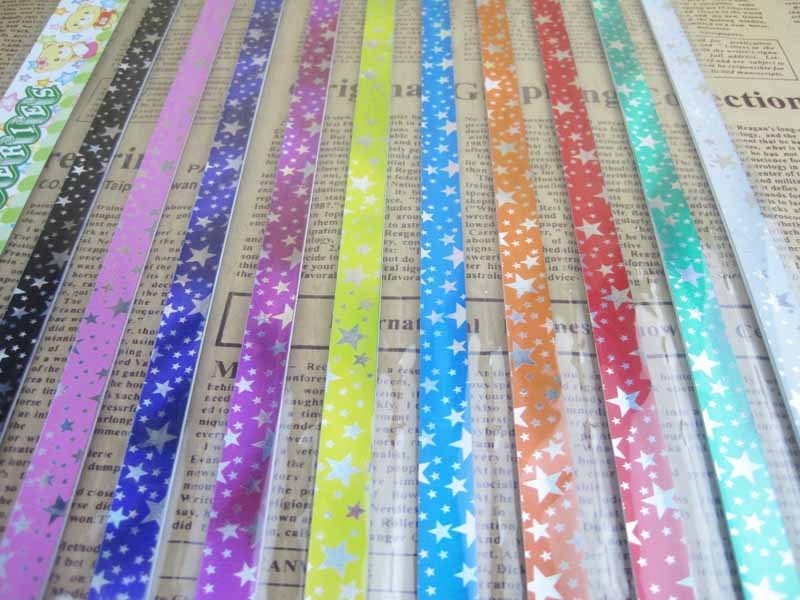 Five-Pointed Star origami paper,double color lucky star paper Stripe diy handmade folding paper Mix Color 300pics/lot(China (Mainland))