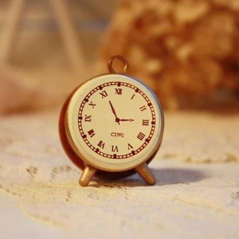 Retro Desk Table Clocks vintage retro style alarm clock small wooden stamp/DIY seal(China (Mainland))