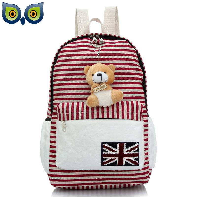 New Arrival Fashion Striped Print Printing Canvas Backpack Mochilas Feminina Bagpck Women Bag School Bag Lady Female with Bear