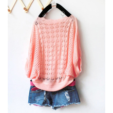 2016 summer new sweet candy color women loose crochet knitted blouse wears batwing hollow pullover sweaters top(China (Mainland))