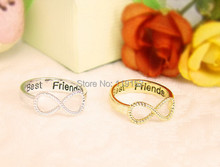 Wholesale Best Friends Ring Infinity Ring Engraved Rings O Jewelry Gold Silver plated Friends Gifts Free