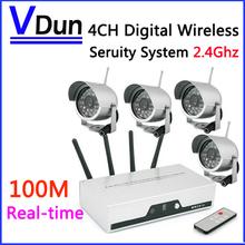 2,4 ghz 4-kanal real- Zeit wireless camera dvr-kit 4 stück ir nachtsicht Überwachungskamera +1pcs quad dvr, vd-815u(China (Mainland))