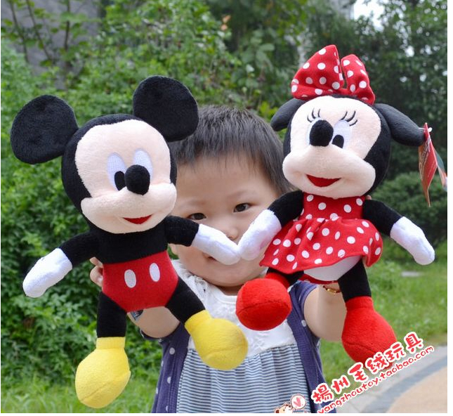 1 pcs New Hot 30cm Lovely Mickey And Minnie Stuffed Animal girls doll plush toys for children Gift baby toys(China (Mainland))