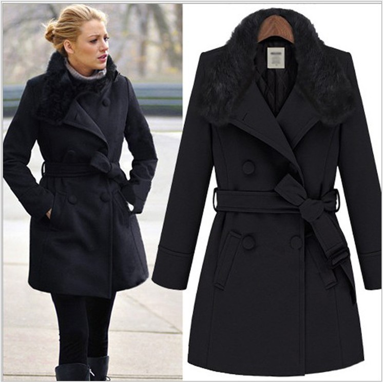 Casual Vintage Winter Coat Long Style Women Woolen Overcoat Fur Collar Double Breasted Lady Coats Elastic Belt Wool Jacket(China (Mainland))