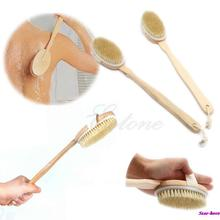 Natural Long Wood Wooden Body Brush Massager Bath Shower Back Spa Scrubber Free Shipping(China (Mainland))