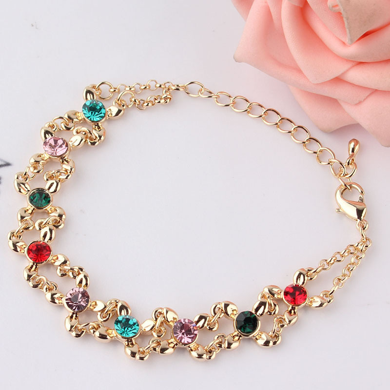 Free shipping New Fashion Women/Girl's 18k Yellow Gold Filled Colorful Austrian Crystal Bracelet & Bangle Gift Jewelry(China (Mainland))