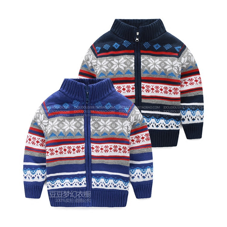 2015 Top Fashion New Boys Sweater Pull Fille Children With Sweater Cardigan Coat Wear Winter Boy Baby Knit Jacket With Thickened(China (Mainland))